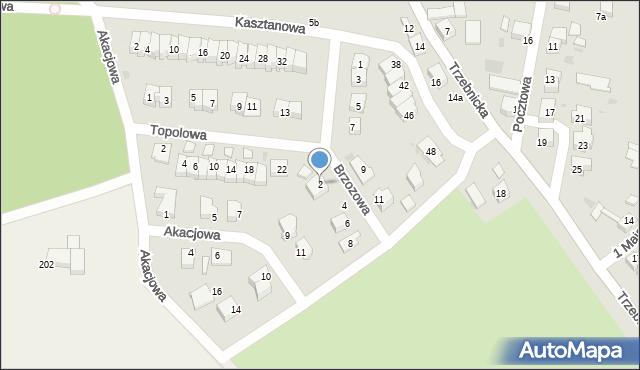 Chocianów, Brzozowa, 2, mapa Chocianów