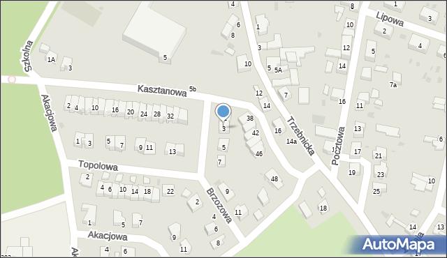 Chocianów, Brzozowa, 3, mapa Chocianów
