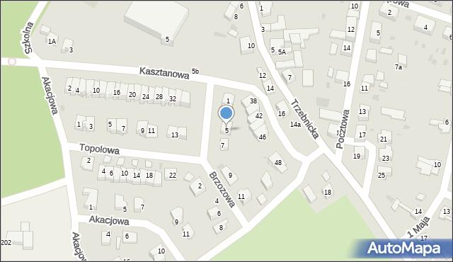 Chocianów, Brzozowa, 5, mapa Chocianów