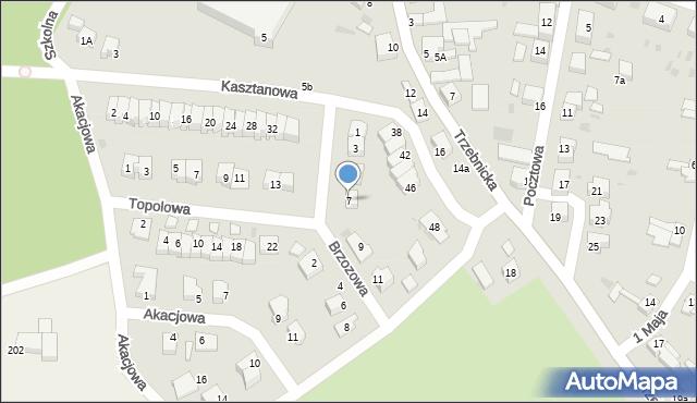Chocianów, Brzozowa, 7, mapa Chocianów