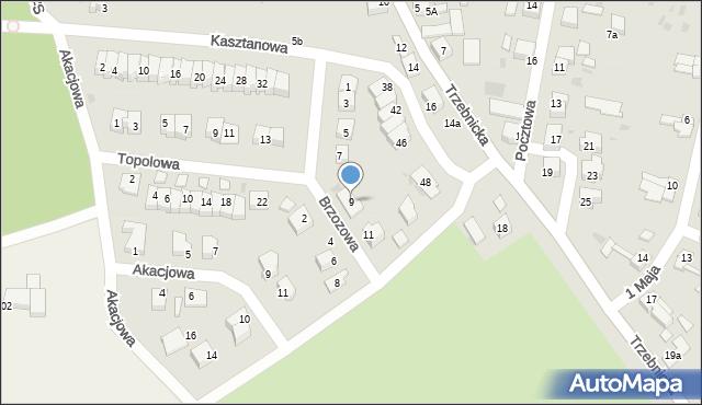 Chocianów, Brzozowa, 9, mapa Chocianów