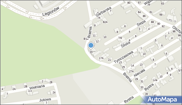 Częstochowa, Bratnia, 13, mapa Częstochowy