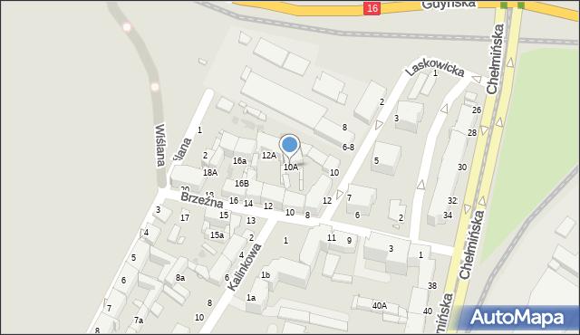 Grudziądz, Brzeźna, 10A, mapa Grudziądza