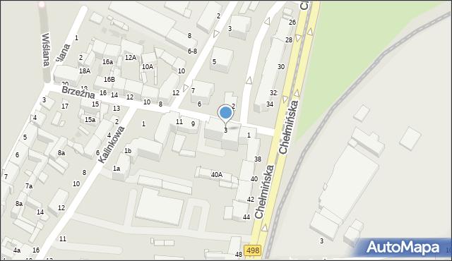 Grudziądz, Brzeźna, 3, mapa Grudziądza