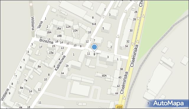 Grudziądz, Brzeźna, 9, mapa Grudziądza