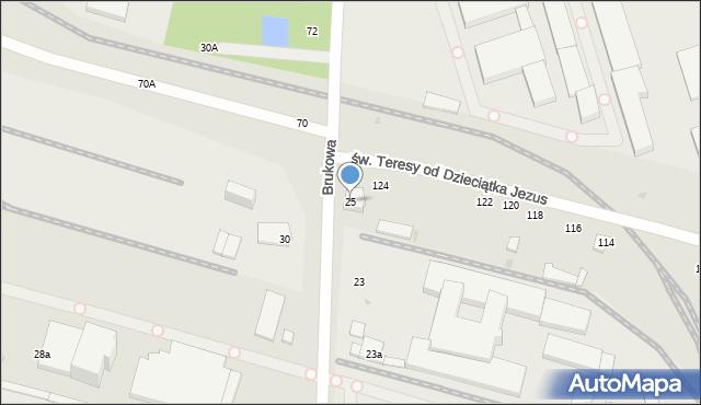 Łódź, Brukowa, 25, mapa Łodzi