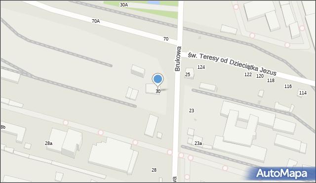 Łódź, Brukowa, 30, mapa Łodzi