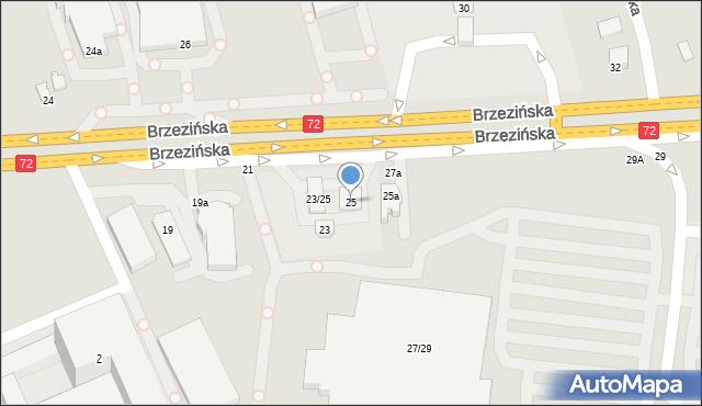 Łódź, Brzezińska, 25, mapa Łodzi