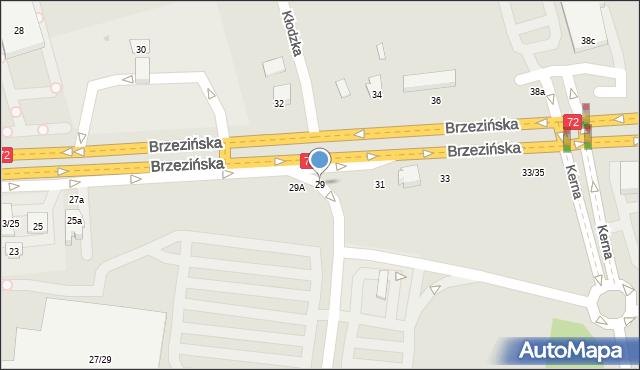 Łódź, Brzezińska, 29, mapa Łodzi