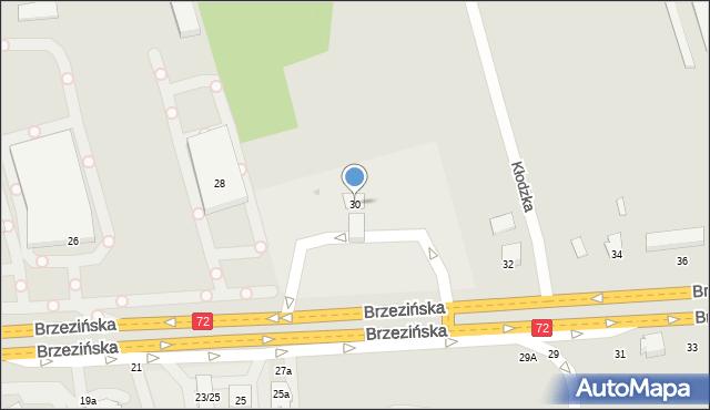 Łódź, Brzezińska, 30, mapa Łodzi