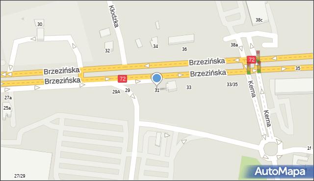 Łódź, Brzezińska, 31, mapa Łodzi