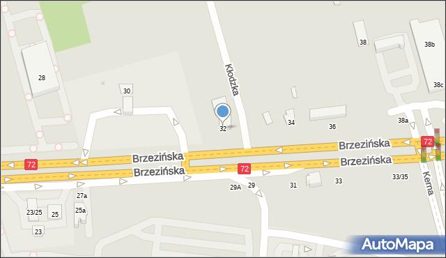 Łódź, Brzezińska, 32, mapa Łodzi