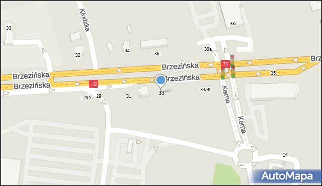 Łódź, Brzezińska, 33, mapa Łodzi
