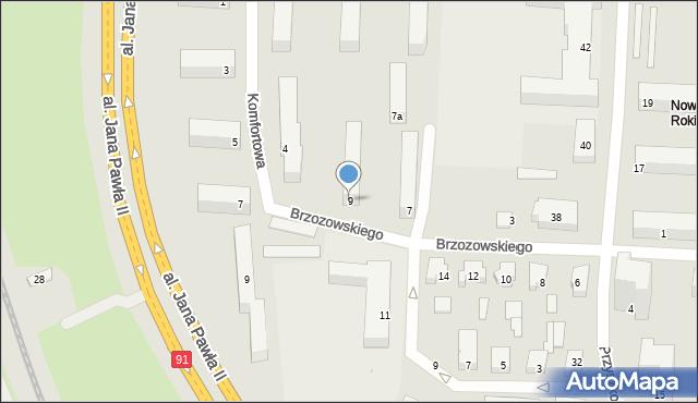 Łódź, Brzozowskiego Stanisława, 9, mapa Łodzi
