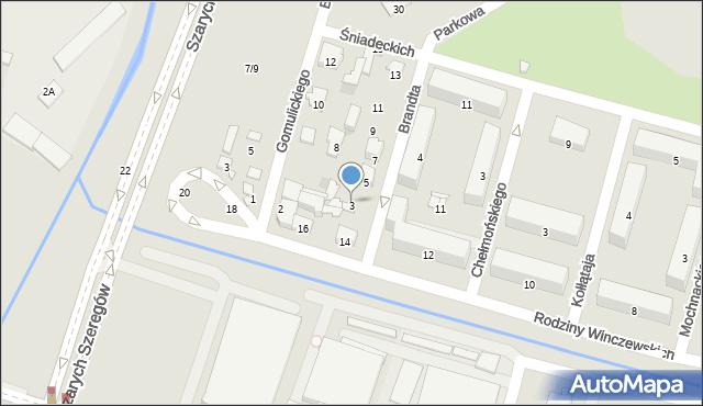 Radom, Brandta Józefa, 3, mapa Radomia