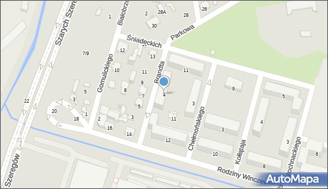 Radom, Brandta Józefa, 4, mapa Radomia