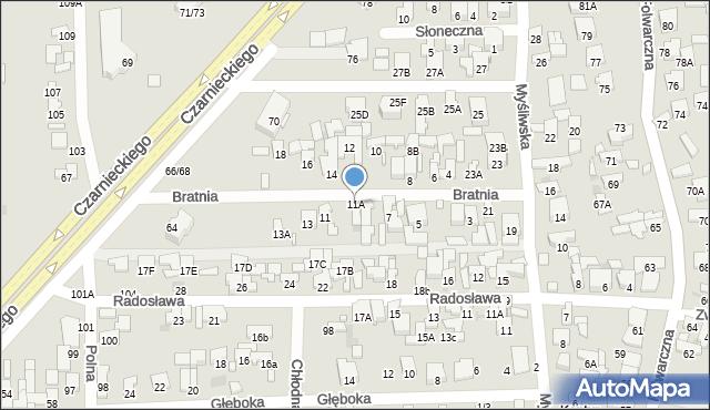 Radom, Bratnia, 11A, mapa Radomia