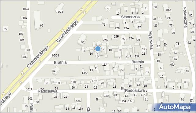 Radom, Bratnia, 14, mapa Radomia
