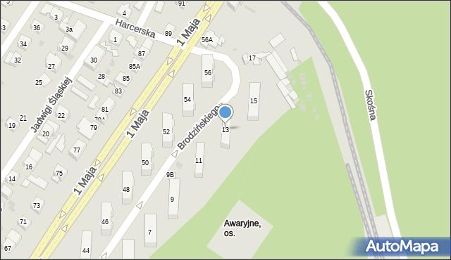 Ruda Śląska, Brodzińskiego Kazimierza, 13, mapa Rudy Śląskiej