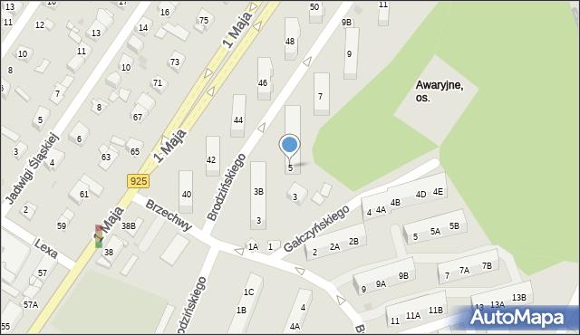 Ruda Śląska, Brodzińskiego Kazimierza, 5, mapa Rudy Śląskiej