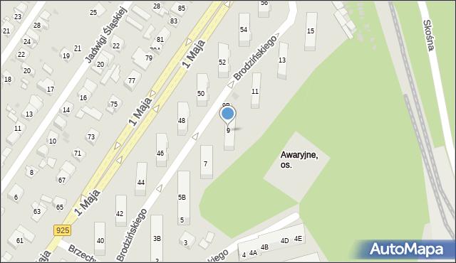 Ruda Śląska, Brodzińskiego Kazimierza, 9, mapa Rudy Śląskiej