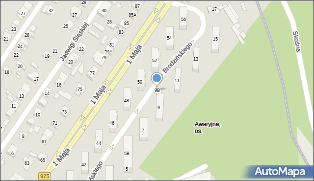 Ruda Śląska, Brodzińskiego Kazimierza, 9B, mapa Rudy Śląskiej