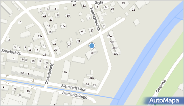 Rzeszów, Braci Śniadeckich Jana i Jędrzeja, 18, mapa Rzeszów