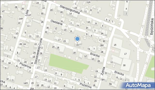 Sosnowiec, Bracka, 11, mapa Sosnowca