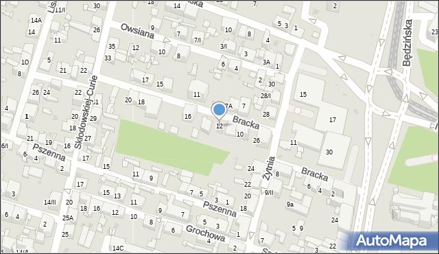 Sosnowiec, Bracka, 12, mapa Sosnowca
