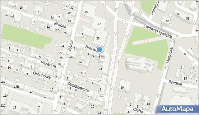 Sosnowiec, Bracka, 2, mapa Sosnowca