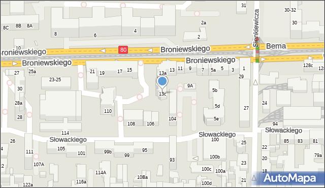 Toruń, Broniewskiego Władysława, 13c, mapa Torunia