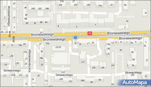 Toruń, Broniewskiego Władysława, 21, mapa Torunia