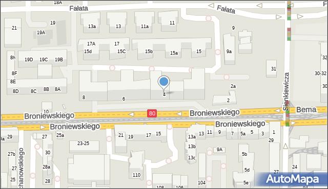 Toruń, Broniewskiego Władysława, 4, mapa Torunia