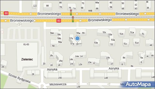 Toruń, Broniewskiego Władysława, 57, mapa Torunia