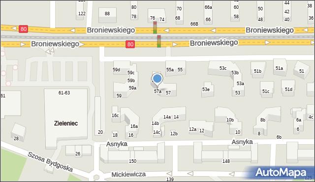 Toruń, Broniewskiego Władysława, 57a, mapa Torunia