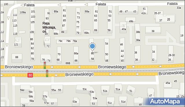 Toruń, Broniewskiego Władysława, 60, mapa Torunia