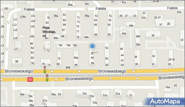 Toruń, Broniewskiego Władysława, 62, mapa Torunia