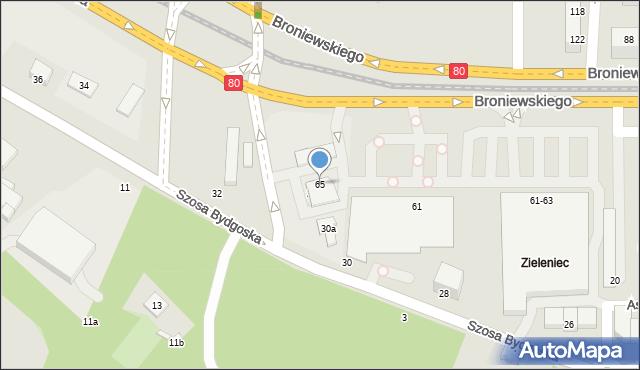Toruń, Broniewskiego Władysława, 65, mapa Torunia