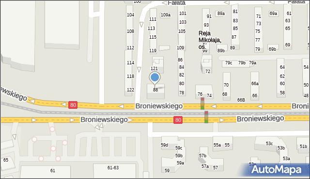 Toruń, Broniewskiego Władysława, 88, mapa Torunia