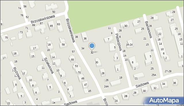 Toruń, Brzoskwiniowa, 32, mapa Torunia