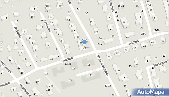 Toruń, Brzoskwiniowa, 45, mapa Torunia