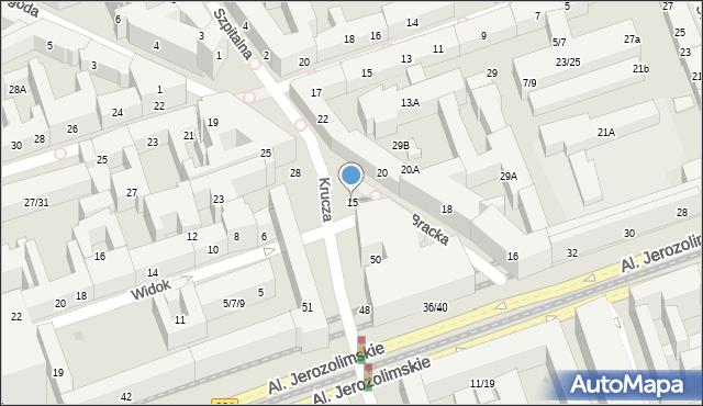 Warszawa, Bracka, 15, mapa Warszawy