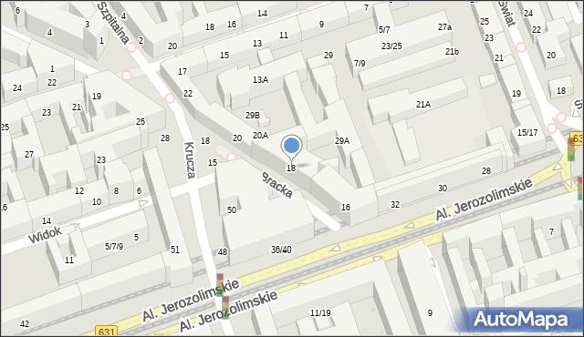 Warszawa, Bracka, 18, mapa Warszawy