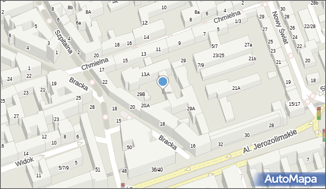 Warszawa, Bracka, 20B, mapa Warszawy