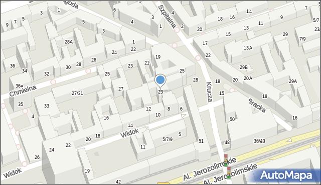 Warszawa, Bracka, 23, mapa Warszawy
