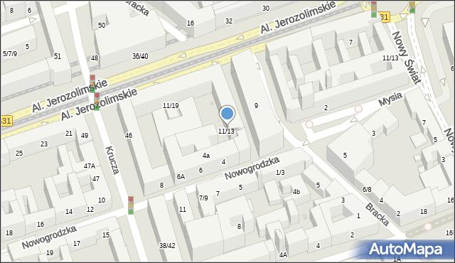 Warszawa, Bracka, 11/13, mapa Warszawy