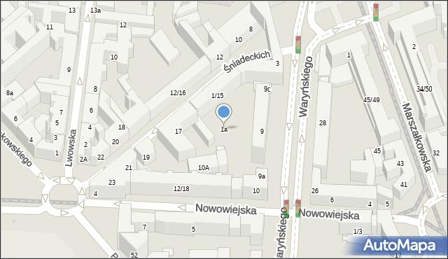 Warszawa, Braci Śniadeckich Jana i Jędrzeja, 1a, mapa Warszawy