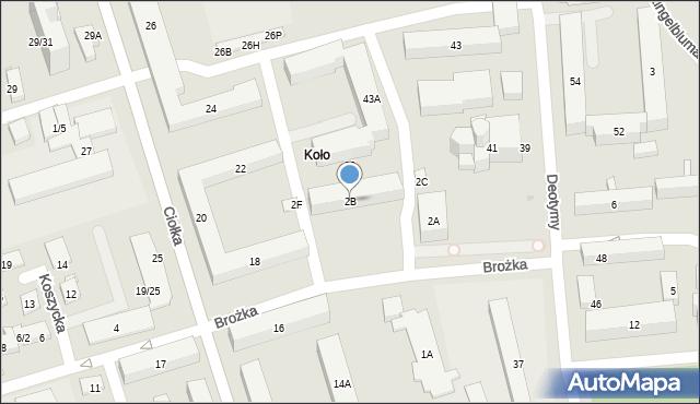 Warszawa, Brożka Jana, 2B, mapa Warszawy