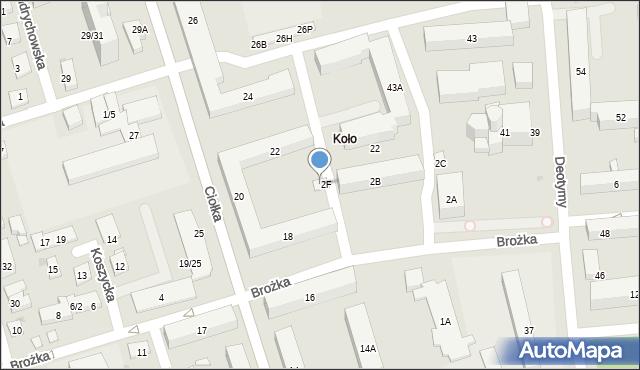 Warszawa, Brożka Jana, 2G, mapa Warszawy