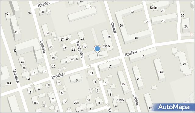 Warszawa, Brożka Jana, 4, mapa Warszawy